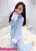 Animal cartoon rabbit ear sleepwear winter coral fleece thickening plus velvet lounge set female SW142