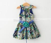 2015 New Fashion Vintage Dresses kids Summer Baby Girl Dress Floral Children Causal Dress Cotton  toddler Girls costumes 2-7yrs