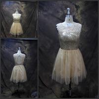 Fashion Real Photo Sccop Neckline Sleeveless Mini Prom Dress with Gold Sequined Prom Dresses 2014 vestido de formatura