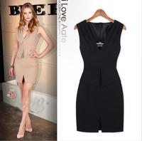 saias femininas fashion worke wear solid hip pockets front closing sleeveless V-neck dress split slim party dress LJ273XGJ