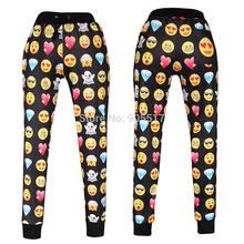 stampa 3d 2015 occhiali da sole facce amore diamante emoji jogging pantaloni della tuta donne nere uomini pantaloni pantaloni casual sciolto vestito xl(China (Mainland))