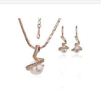 10*12mm white Pearl rose Gold Bridal Bridesmaid Wedding Party Pendant Earring Wholesale silver hook Fine Jewelry sets