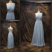 2014 Luxury Crystal One Shoulder Sexy Open Back Woman Party Dresses Evening Dress vestido de festa Chiffon Evening Dresses