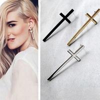 Free shipping Fashion black\silver\gold cross earrings jewelry wholesale women stud earrings