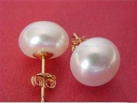 Charming!10-11mm White Akoya Freshwater Pearl gold plated Earring Wholesale 4pcs Two pair silver hook Fine Jewelry sets