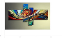 hand-painted Abstract colorful life line High Q. Home Decoration Modern Abstract Oil Painting on canvas 4pcs/set mixorde