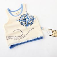 Baby Summer Tops Fashion Organic Cotton Bebe Up Brand Children Causal T-shirts Boys Print Sleeveless Tanks Clothing 4pcs/lot