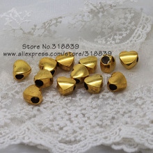 (30 pieces/lot) 7*11*11mm Antique Gold Metal Big Hole Beads 3D Heart Beads Findings Fit Pandora Bracelets 7994