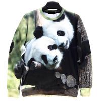 Lovely Panda Animal Print Men's Crewnecks  3D Hoodies Sweatshirts  Long Sleeve Outerwear Pullovers