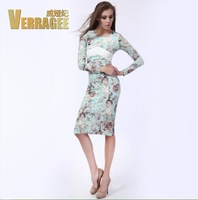 Autumn and winter in Europe and the big long sleeve lace dress 2014 women dresses party
