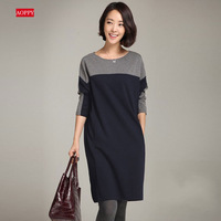 2015 Korean fashion women dresses,simple cotton long-sleeved dress,ladies a-line winter dress, o-neck cute patchwork dress