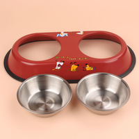 Stainless steel double The Small dog bowl Pet food and water bowls puppy and cats tableware Red and Blue Pet supplies