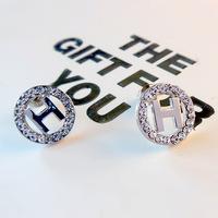 fashion stud earrings for women,good quality Elegant brand letter H earrings with zircon,stud earrings 18K gold plated