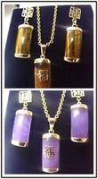 Fashion new jewelry silver Gold Plated Tiger eye /Jade Pendant Earring Wholesale silver hook Fine Jewelry sets