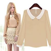 14 Hitz European and American women doll collar long-sleeved chiffon shirt bottoming shirt solid wild ladies blouse
