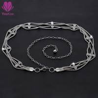 New arrival silver waist chain belts for women diamond+metal 110cm long Youkee belt for casual dress Free shipping