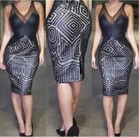 Newest 2015 Fashion Women Summer Dress Sexy VNeck Gauze Patchwork Print Club Evening Party Dress Casual Bodycon Vestido De Festa