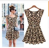 2013 autumn and winter plus size elegant slim leopard print chiffon one-piece dress leopard print top female