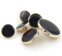 10 piece gold/ platium metal color 20mm round black enamel overcoat/shirt jeans buttons numb108