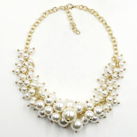 N1405 NEW 2015 Unique costume pearl chunky chocker collar necklace & pendant bib statement necklace for women jewelry wholesale