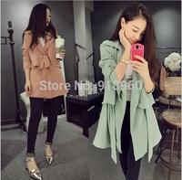 2014 Autumn&Spring Trendy Womens Long Style Double Ruffled Bandage Slim Trench Coat/CTW