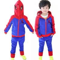 2015 latest suit boy cartoon character children autumn clothes wholesale children's clothing section Spiderman Fleece suit