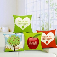 18'' Heart Colored Printed Moden Cotton Linen Sofa Chair Seat Bed Pillow Case Cushion Home Decor Hotel Decorative Square