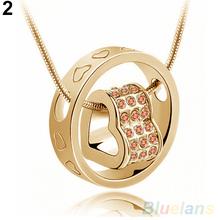 Women s Fashion Crystal Chain Rhinestone Gift Love Heart Pendant Necklace 1QAN