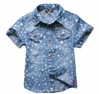 CS22 new 2015 denim kids shirts boys shirts 2-8 age short sleeve blusa menina free shipping 6pcs/ lot