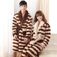 New Winter Women bathrobe thick warm lovers home clothing stripes couple bath robe female male nightgown nightwear