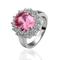 Free Shipping New Fashion Luxury Women Wedding Jewelry 18k Gold Pink Crystal Gem Zircon Female Finger Flower Rings Gifts 18R030