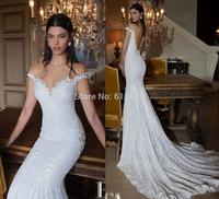 Romantic Brand vestido de noiva V-neck Lace Beaded Cap Sleeve Sexy Open Back Chapel Train Mermaid Wedding Dresses 2015