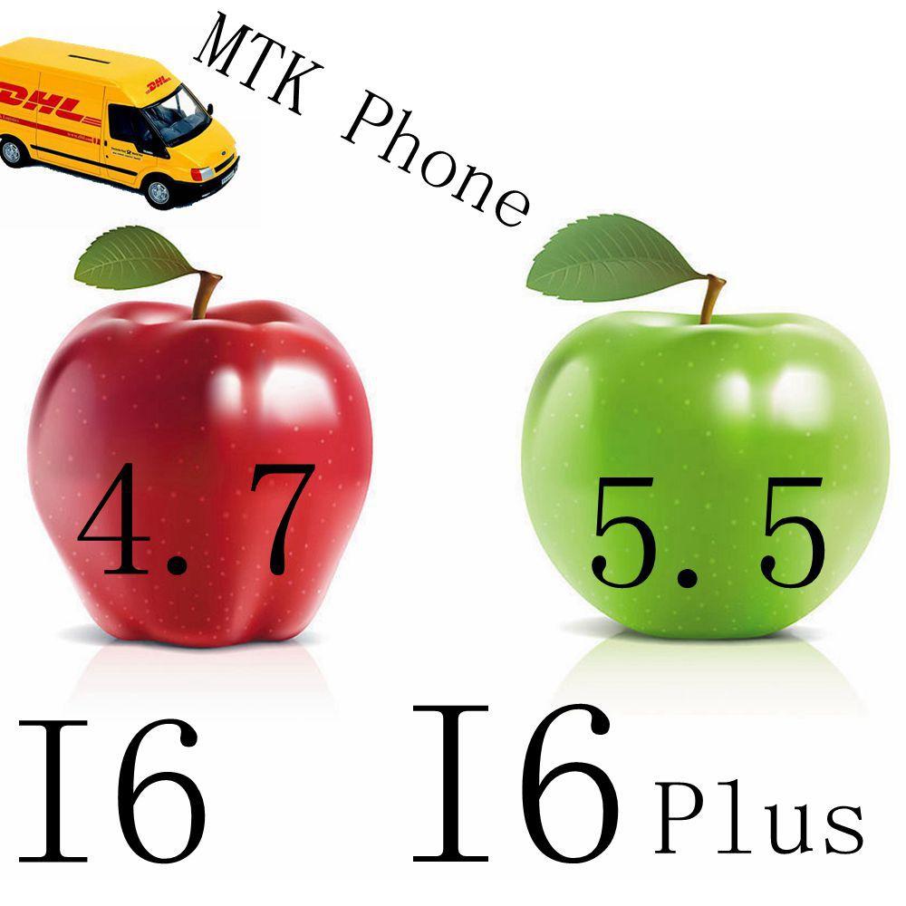 Dhl neue metall Körper i6 4.7 zoll telefon 6 mtk6582 Quad-Core 2gb ram 32gb rom intelligente handy i6 plus 5,5 zoll 3g gps handy