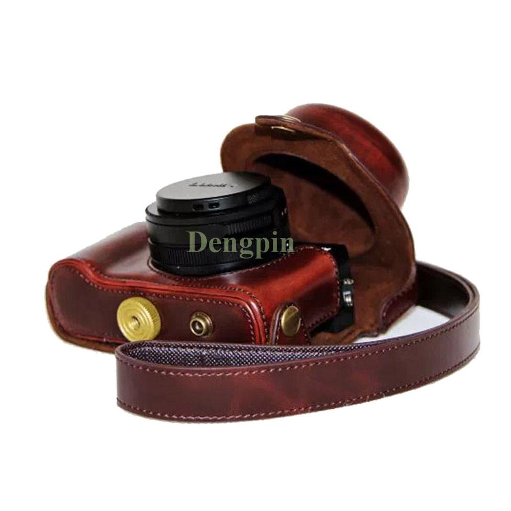 Dengpin Coffee Retro PU Leather Oil Skin Camera Case Bag Cover with Shoulder Strap for Panasonic Lumix LX100 DMC-LX100(China (Mainland))