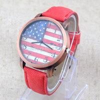 Denim US U.S.A Flag PU Leather Bronze Dial Womens Analog Quartz Wristwatches Gift