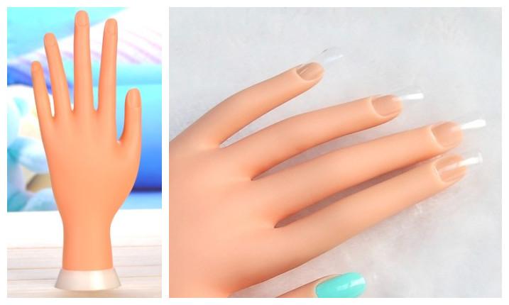 1pcs Adjustable Nail Art Fake False Artificial Soft Model Hand for Training and Display Nail art tool(China (Mainland))
