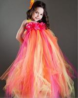 Hot Pink Mix Orange Flower Girl Dress Floor-Length Girl Flower Tutu Dress For Wedding Party Size 2T-9Y
