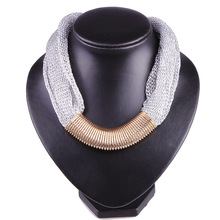 Retro Punk Gold Closely spaced Circle Pendant Hand woven Silver Chain Charm Collar Choker Necklace Statement