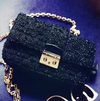 2014 new autumn and winter chain flash black silk handbag Crossbody bag lady shoulder bag small bag