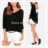2014 Women Black Backless Bowknot On Back Long Sleeve Round Neck Shirt Casual Blouse Plus Size XS-XXL Elegant Temperament