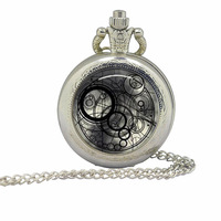 2015 Doctor Who silver mens Pocket Watches 12pcs/lot Necklaces Dr Who masters fob pendant Timelord Seal Locket steampunk jewelry