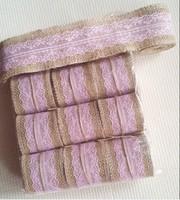 Natural Jute Burlap Hessian Ribbon Lace Trim Tape Rustic Wedding craft / party decoration ribbon pink  60MM width