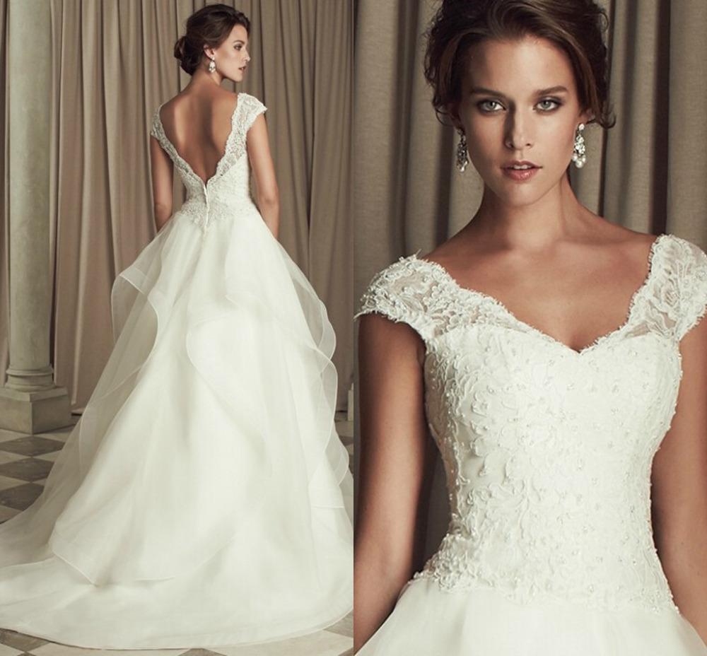 Modern Vintage Lace Wedding Dress : Modern wedding dresses vintage lace v neck bridal gowns vestidos de