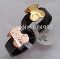 rose/gold 2 options,titanium steel new arrival bear black rings