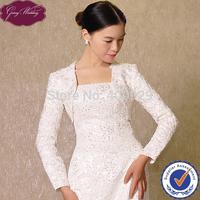 New Arrival GoingWedding Real Sample Ladies Long Sleeve Beaded Lace Bridal Wedding Bolero Jacket Women 2015 LJ0008