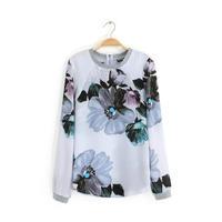 HZ3-382926 European station ladies fashion all-match threaded sleeve self-cultivation printed T-shirt 8035