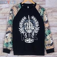 2015 Winter Fleece Cotton Flower Camo Pullover Men Black Blazer Hoodies Coat Fashion Hip Hop Floral Army camouflage Sweatshirt