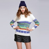 Autumn Winter Pullover Sweater Long Sleeve O-Neck Print Sweater Woman Knitted Sweater 2 Colors B21 CB029396