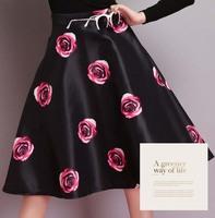 Free shipping Fashion Womens Vintage Retro Hepburn Floral High Waist A-Line Midi Skirts Ball Gown Below Knee #687