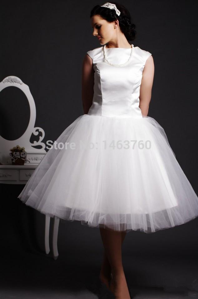 Short Wedding Dress Scoop Puffy Tulle Train Cap Sleeve Wedding Gowns WA-0108 2015 Pure White Vestidos de Noiva em Renda(China (Mainland))